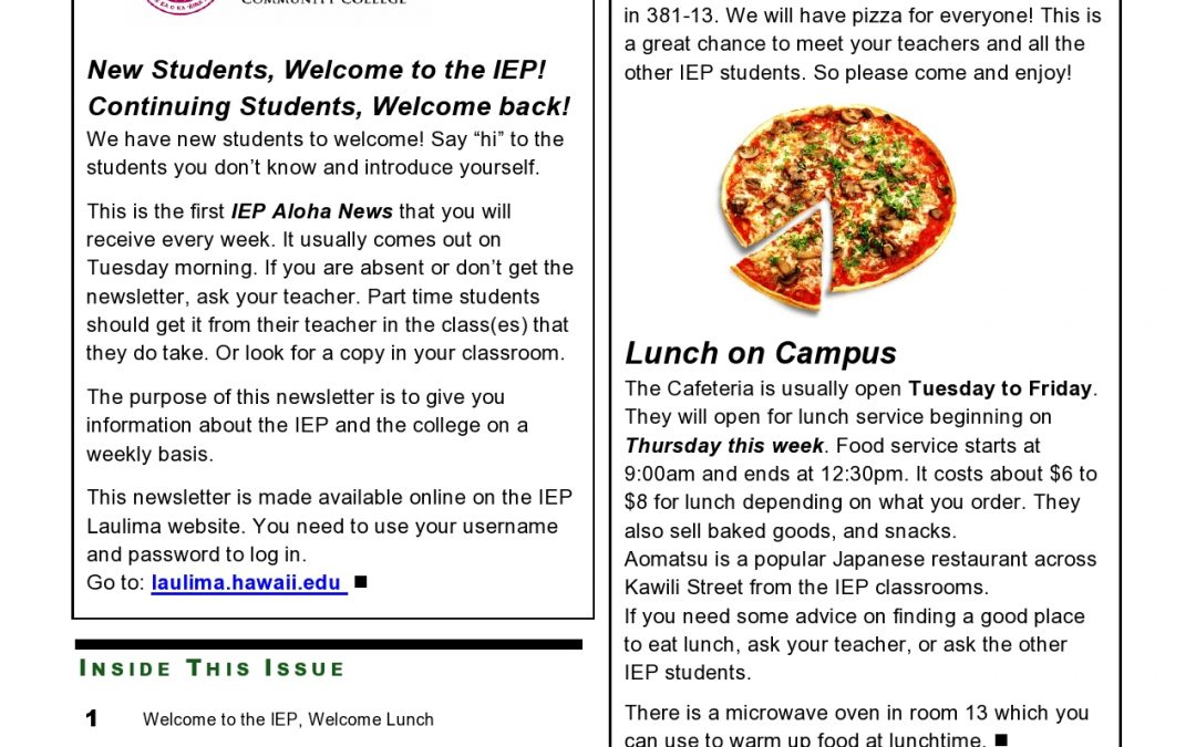 IEP Newsletter Week 1 Fall I 2017