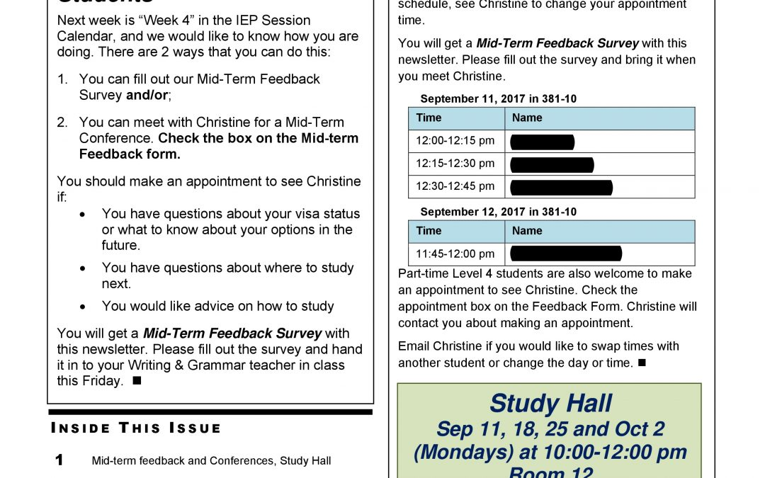 IEP Newsletter Week 3 Fall I 2017