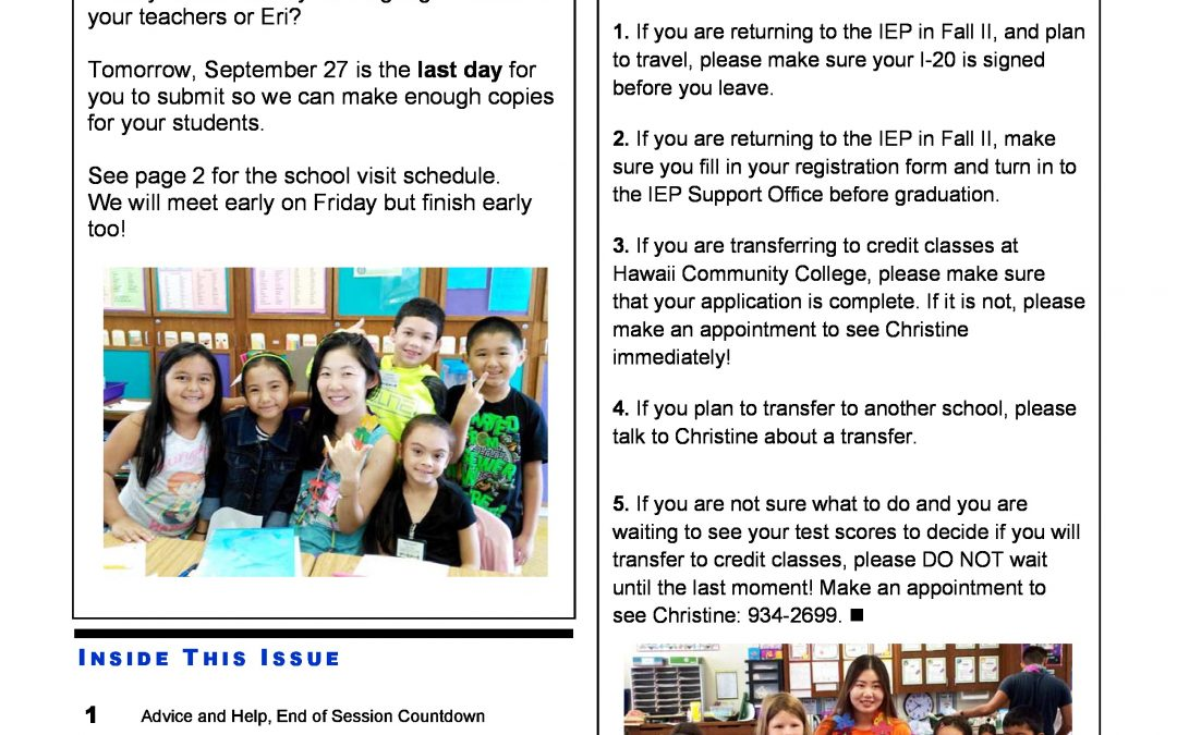 IEP Newsletter Week 6 Fall I 2017