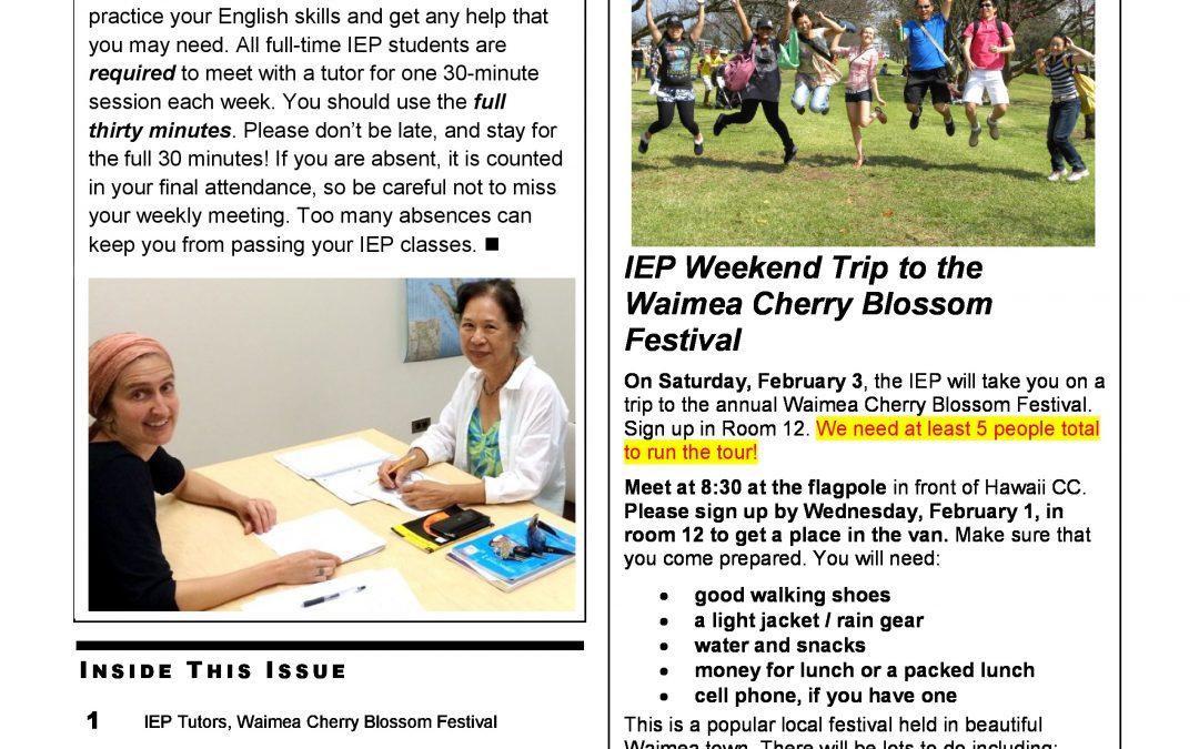 IEP ニュースレター Week 4 Spring I 2018