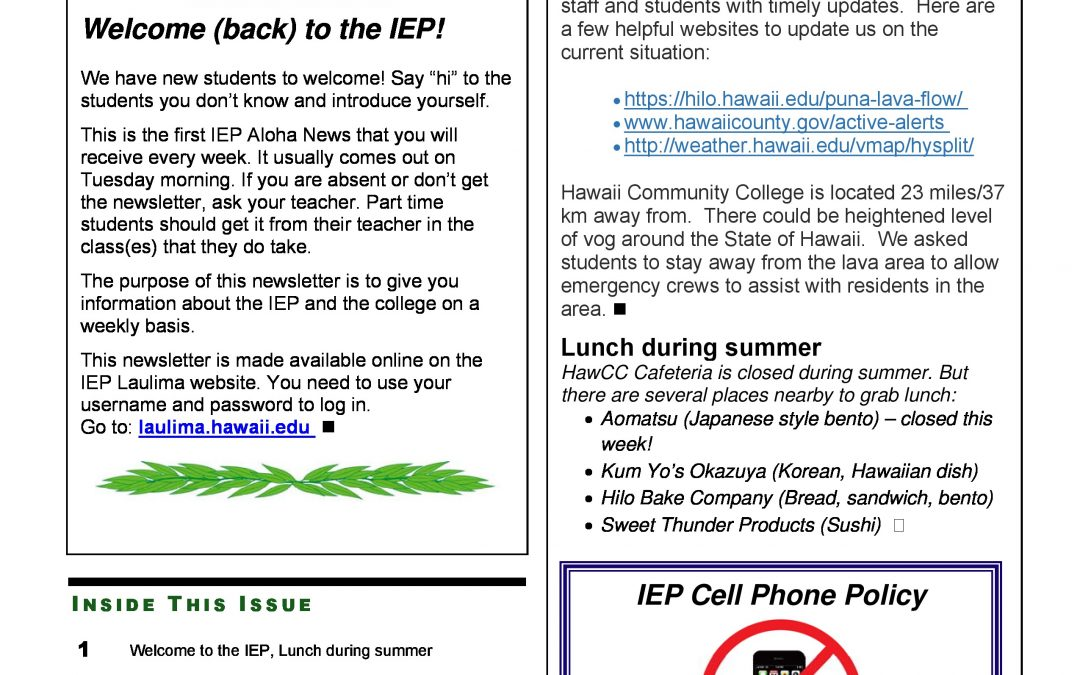 Summer 2018 Newsletter Week 1 - Intensive English Program - Hawaiʻi