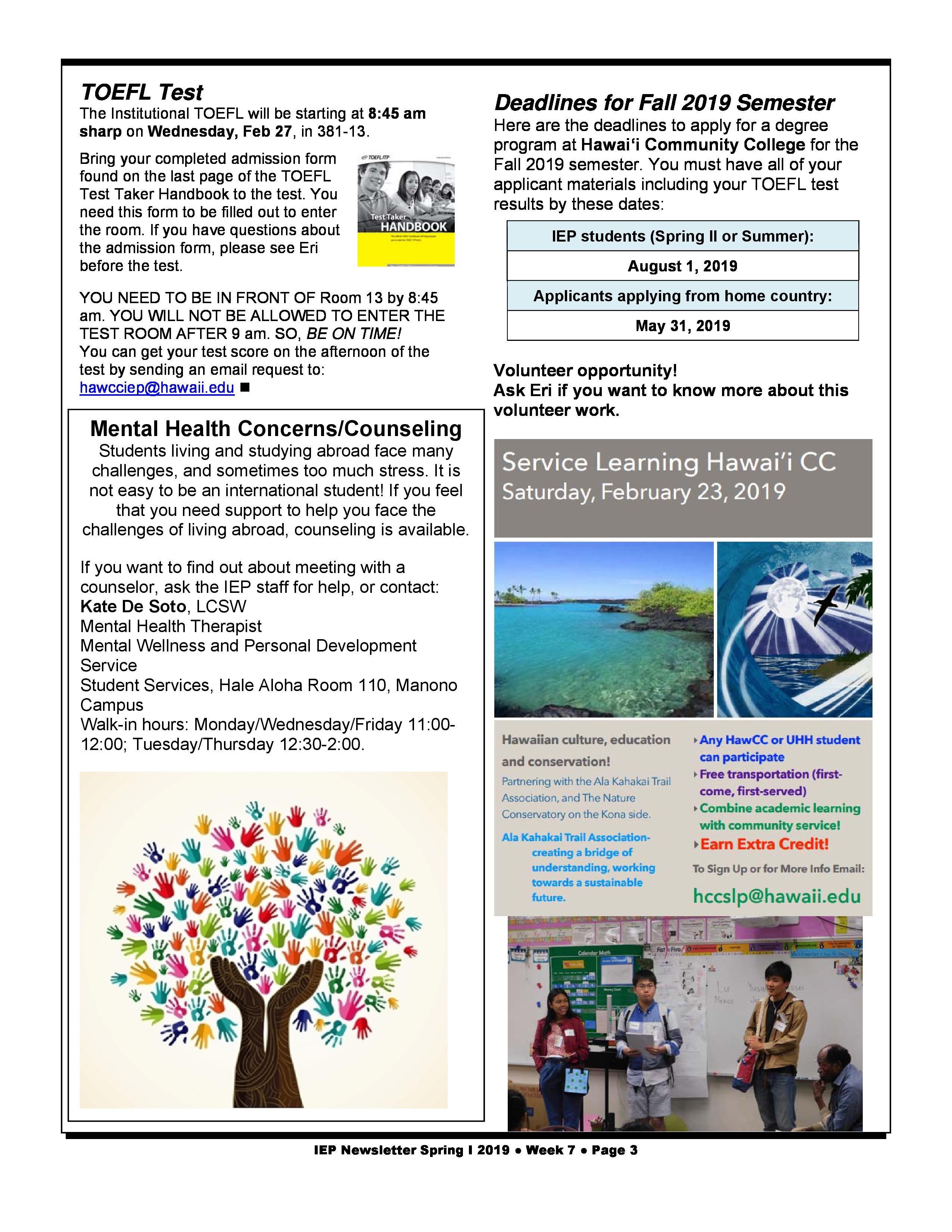 Friday August 1st Free Community >> Spring I 2019 Newsletter Week 7 Intensive English Program