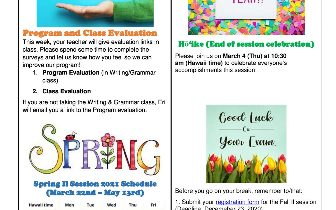 Spring I 2021 Newsletter Week 7